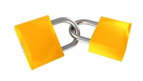 Two locks 3d illustration Stock Photos