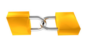 Two locks 3d illustration Stock Photo