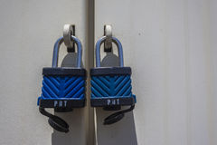 Two Locks Secure Doors Stock Image