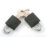 Two locks and two keys Royalty Free Stock Photos