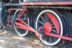 Two locomotive wheels Stock Photo