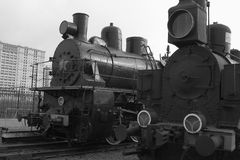 Two locomotives. Black and white Royalty Free Stock Photos
