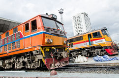 Two locomotives parking. Alsthom and old G.E. locomotive parking at Bangkok train area at Bangkok Thailand Stock Photos