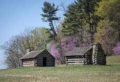 Two Log Cabins on Hill Stock Photos