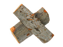 Two logs in form of multiply sign royalty free stock photo