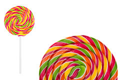 Two Lollipops candy on white Royalty Free Stock Photos