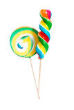 Two lollipops. Over white background. Stock Photo