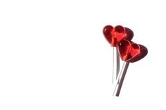 Two lollipops. Red hearts. Candy. Love concept. Valentine day Royalty Free Stock Images
