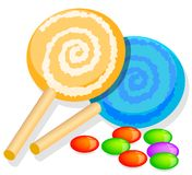 Two lolly chocolates and candy Stock Images