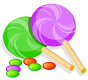 Two lolly chocolates and candy Stock Image
