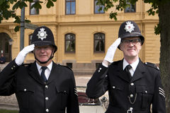 Two London Bobbies posing in the Karlsborg Fortress in Sweden Stock Photos