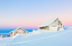 Two lonely house in the mountain. Stock Photos