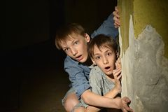 Two Lonely Little Boys Stock Images