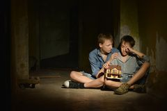 Two lonely little boys Royalty Free Stock Photography
