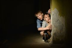Two lonely little boys Stock Photo