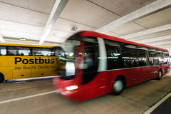 Two long distance busses in the new Stuttgart Central Bus Station Stock Image