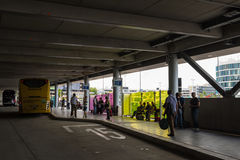 Two long distance busses in the new Stuttgart Central Bus Station Royalty Free Stock Images