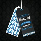 Two Long Price Stickers Cyber Monday Wallpaper Ornaments. Two long price stickers for cyber monday on the dark background with ornaments Royalty Free Stock Images