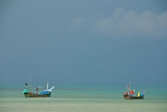 Two longtail boat in the sea Royalty Free Stock Images