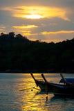 Longtail Boats Ko Lipe Coastline Sunset Sky Clouds Stock Photography