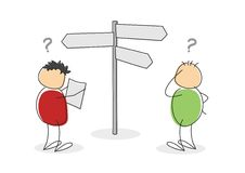 Two lost colorful cartoon stick figure tourists. Two lost colorful cartoon stick figures or tourists with round bodies and heads standing looking at a map and Stock Photos