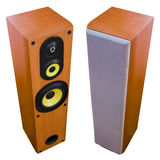 Two loud speakers. Pair of two three way floor standing loud speakers - disclosed and enclosed Royalty Free Stock Images