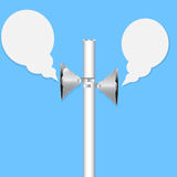 Two loudspeakers. On blue background Stock Images