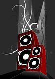 Two Loudspeakers - Vector. Illustration of two red loudspeakers. dark background with plants Vector Illustration