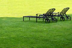 Two loungers are standing in a shady garden on a green lawn.  royalty free stock images