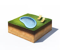 Two loungers and water pool on cross section of ground with grass isolated on white. 3d illustration of two loungers and water pool on cross section of ground Stock Photography