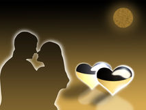 Two in love. Embrace at light of the moon on a background of hearts Royalty Free Stock Photography