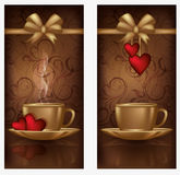 Two love banners with coffee Stock Image