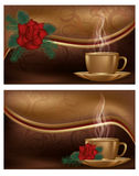 Two love banners with coffee Stock Images