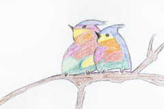 Two love birds .Child drawn Stock Photos