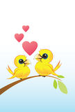Two Love Birds With Hearts. Sitting on a Tree Branch stock illustration