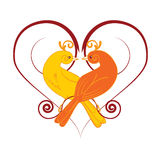 Two love birds. Postcard to Valentine's Day vector illustration