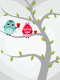 Two love birds sitting on tree. Royalty Free Stock Image