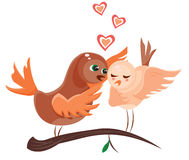 Two love birds on a tree branch. Illustration of two cartoon birds standing on a tree branch and expressing their feelings to each other Royalty Free Stock Photos