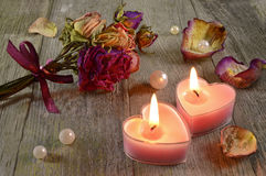 Two Love Candles Stock Image