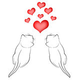 Two in love cats and red hearts Royalty Free Stock Images