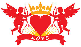 Two love cupid silhouettes Stock Images
