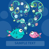Two Love fishes  and bubble heart. Two fishes in love and bubble heart Stock Photography