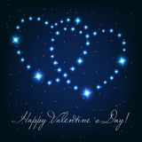 Two love heart from beautiful bright stars on the Royalty Free Stock Images
