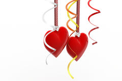 Two Love heart hanging Stock Photos
