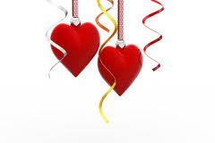 Two Love heart hanging Royalty Free Stock Photos