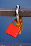 Two Love Padlocks Locked Together Stock Photos
