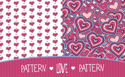 Two Love patterns white and pink Royalty Free Stock Photos