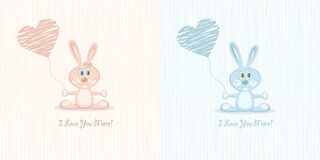Two love rabbit (postcard), illustration Royalty Free Stock Images