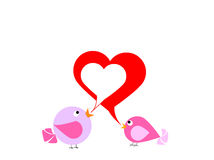 Two lovely birds are singing about love Royalty Free Stock Photo