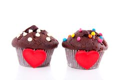 Two lovely chocolate muffins Royalty Free Stock Photo